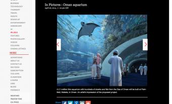 Das neue Aquarium soll 2,1 Millionen Liter Wasser fassen. Screenshot: Times of Oman